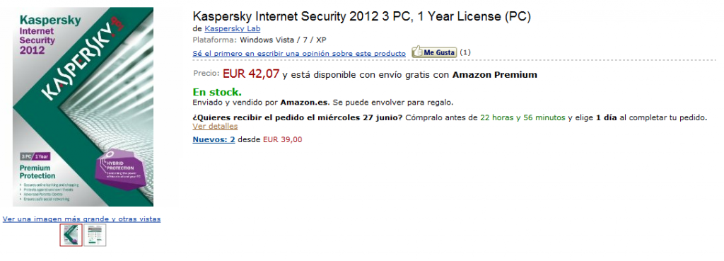 Kaspersky Internet Security 42€ en Amazon España