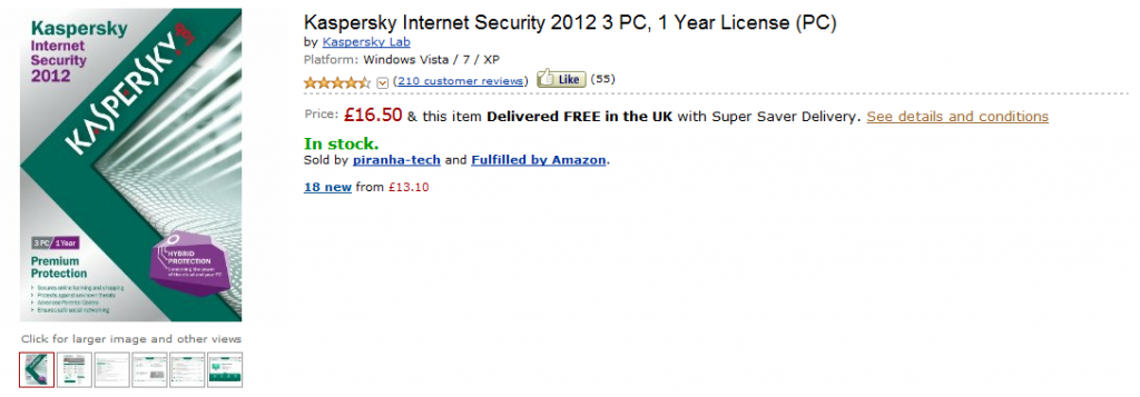 Kaspersky Internet Security 20.56€ en Amazon Uk