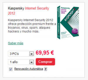 Kaspersky Internet Security 69,95€ web oficial