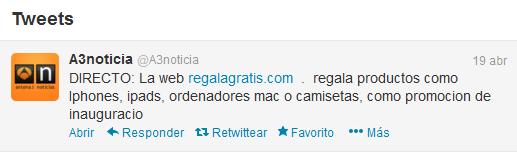 Supuesto tweet de Antena3 noticias